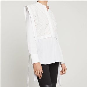 BCBGMaxAzria Embroidered Lilies Cotton Shirt